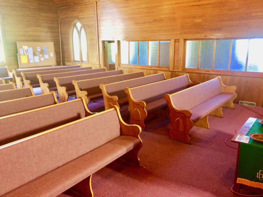 church pew upholstery